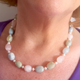 Morganite nuggets & freshwater pearls necklace