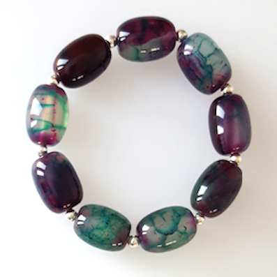 Agate & Sterling silver stretch bracelet
