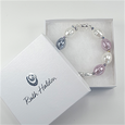 Monochrome & plum shell with silver bead bracelet