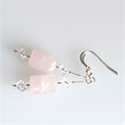 Rose Quartz cilynder & rock crystal hook earrings