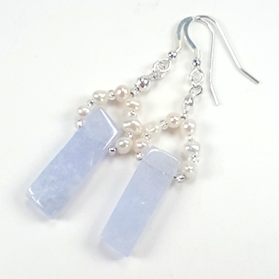 Chalcedony bars & freshwater pearls hook earrings