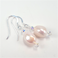 Pastel pink freshwater pearls and crystals hook earrings