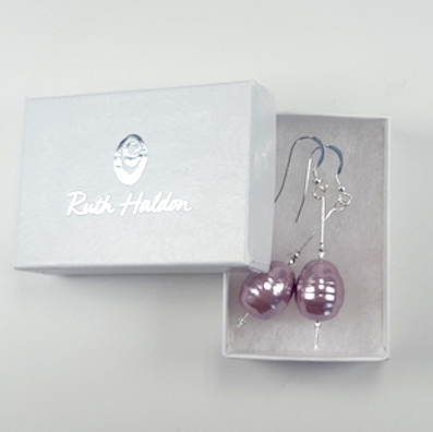 Shell, plum hook earrings