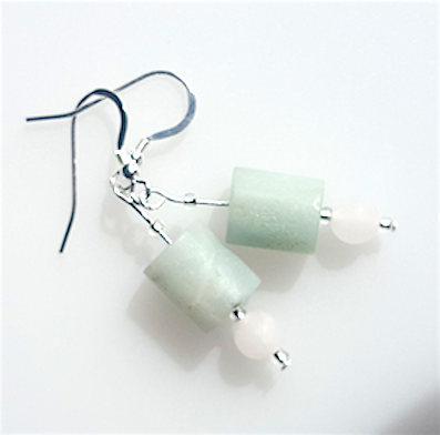 Amazonite & rose quartz hook earrings
