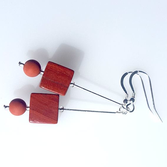 Agate Cubes (red jasper) hook earrings