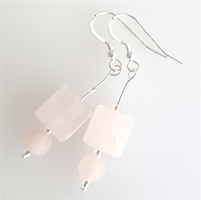 Agate cube (rose quartz) hook earrings