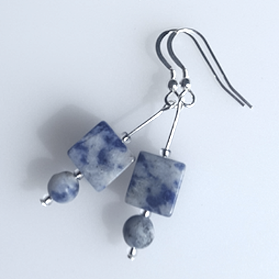 Agate cube (sodalite) hook earrings