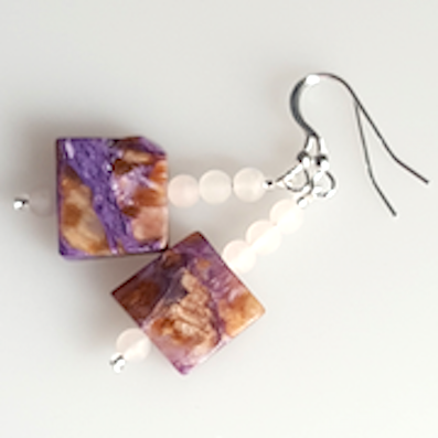 Charoite and Rose Quartz hook earrings