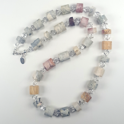 Sky-eye Jasper cilynder & Rock crystal necklace