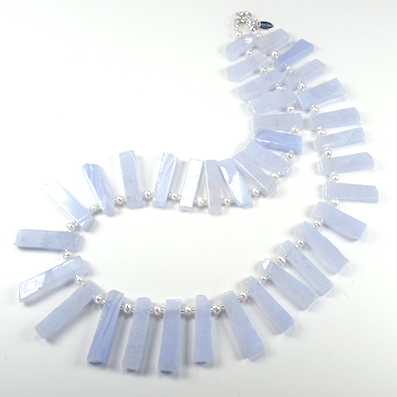 Chalcedony bars with freshwater pearls necklace