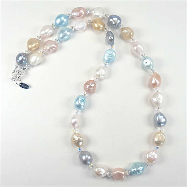 Pastel freshwater pearls with crystals necklace