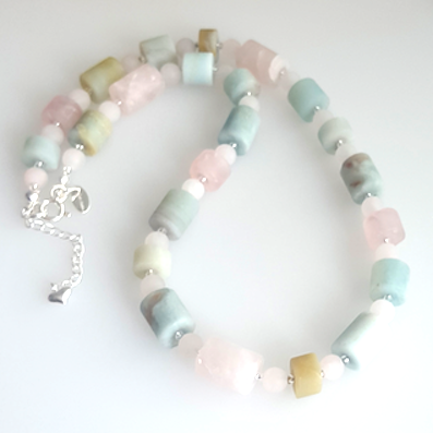 Amazonite & rose quartz 'sugar candy' necklace