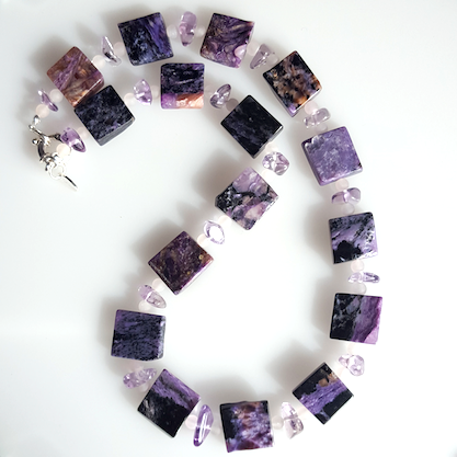 Charoite, Rose Quartz and Amethyst necklace.