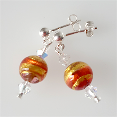 Orange/golden swirl Murano post earrings