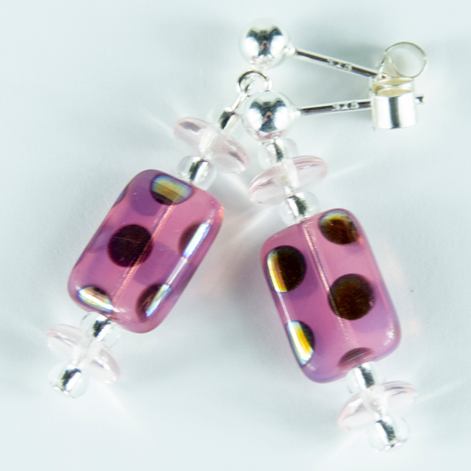 Pink multi spot lozenge post earrings. (Limited)