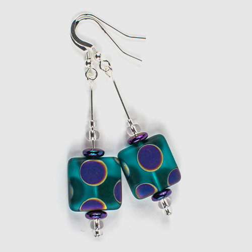 Teal square multi spot hook earrings