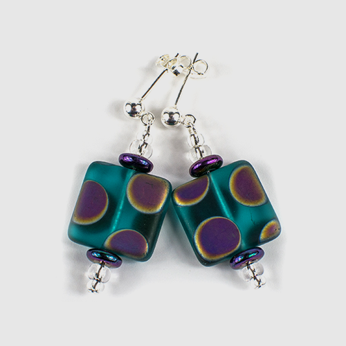 Teal square spot post earrings