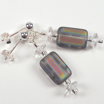 Rainbow stripe, grey lozenge post earrings