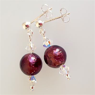 Rich purple Murano post earrings