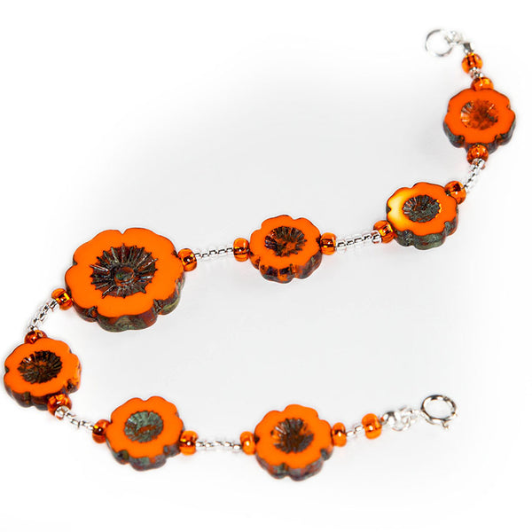 Orange cut flower bracelet