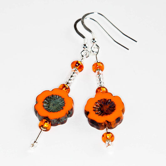 Orange cut flower hook earrings