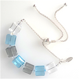 Blue/grey/clear crystal slider bracelet