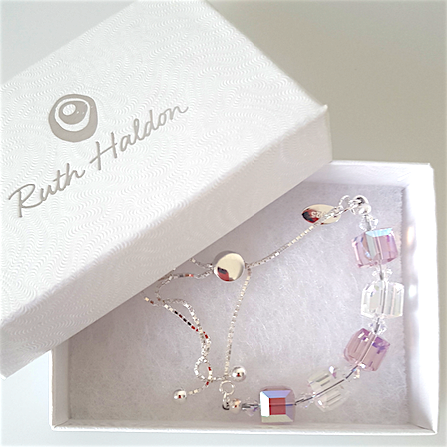 Pink/clear crystal slider bracelet (small)