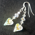Crystal AB wild heart hook earrings