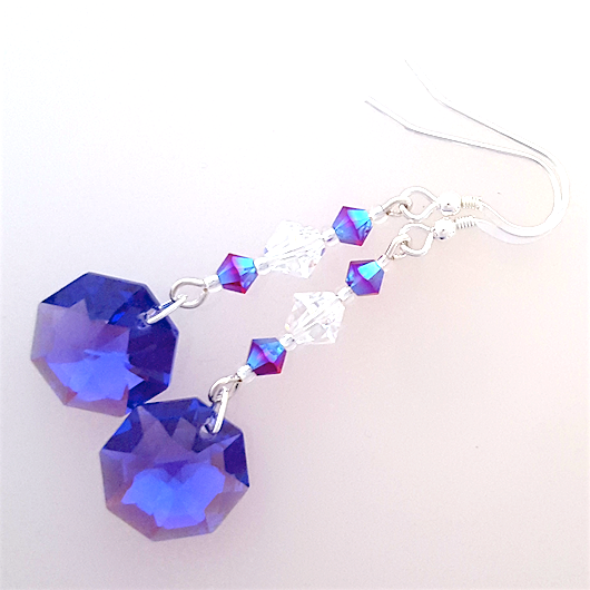 Purple hexagonal crystal hook earrings