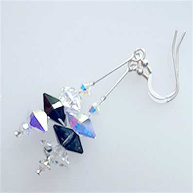 Monochrome spike crystal hook earrings