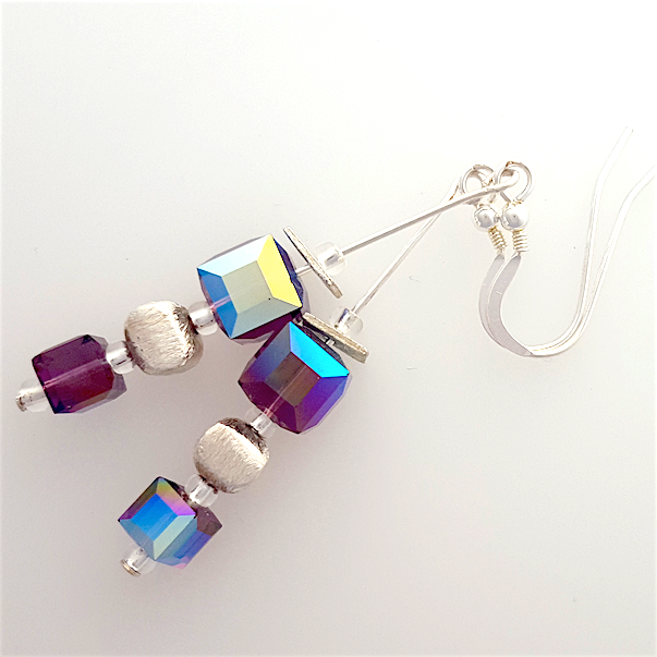 Plum crystal cubes hook earrings