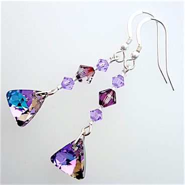 Vitrail light crystal triangle hook earrings