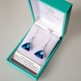 Bermuda blue 12mm crystal pyramid hook earrings