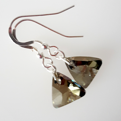 Iridescent green crystal 12mm pyramid hook earrings