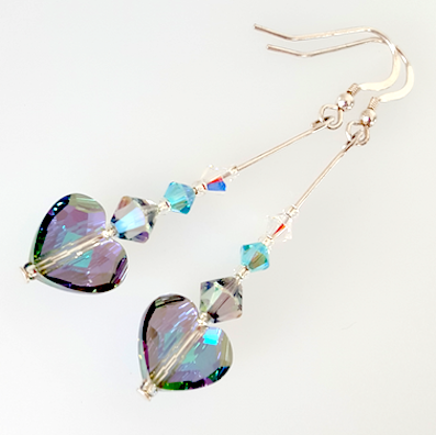 Aqua/purple puffed heart crystal hook earrings