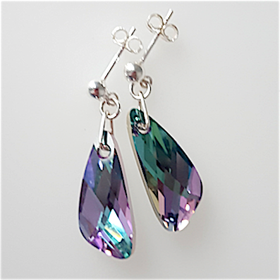 Vitrail light crystal angel wings post earrings