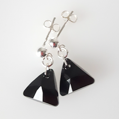Jet black crystal 12mm pyramid post earrings