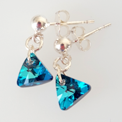 Bermuda blue 8mm pyramid crystal post earrings