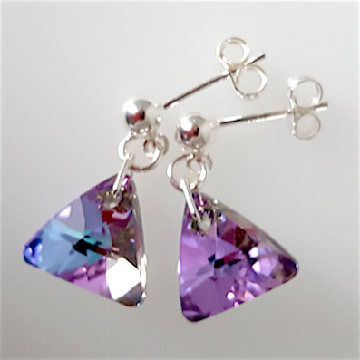 Vitrail light crystal 12mm pyramid post earrings
