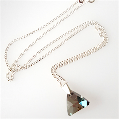 Iridescent green crystal 16mm pyramid pendant