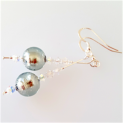 Silvery grey Murano hook earrings