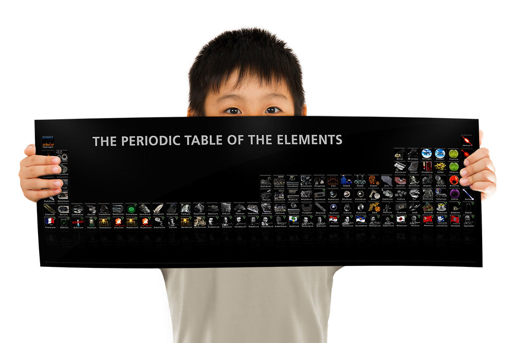 Child holding the periodic table of the elements