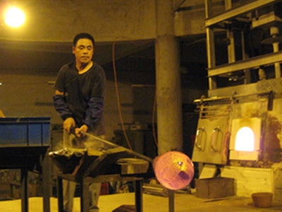 Glass blowing work