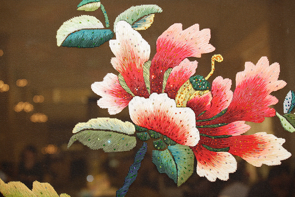 Hand Embroidery Peony Flower Partition (Design # 1,2,3,4) - LIULI Crystal Art - [variant_title].