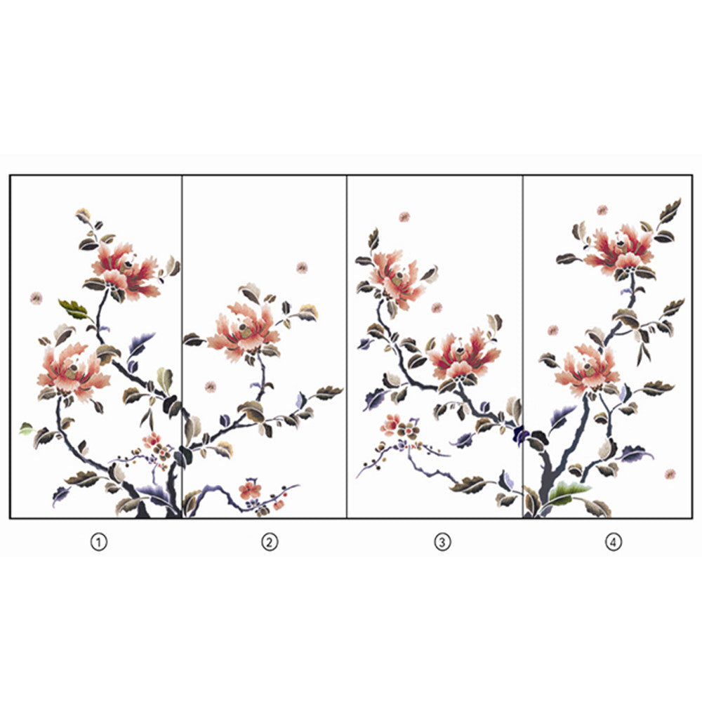 Hand Embroidery Peony Flower Partition (Design # 1,2,3,4) - LIULI Crystal Art | Collectible Glass Art