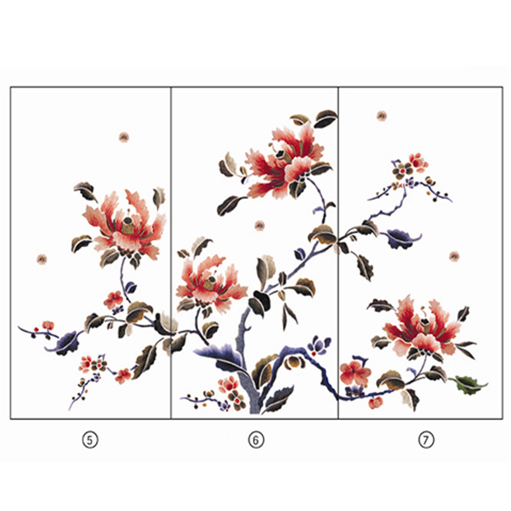 Hand Embroidery Peony Flower Partition (Design # 5,6,7) - LIULI Crystal Art - Design # 5+6+7 (No Frame).