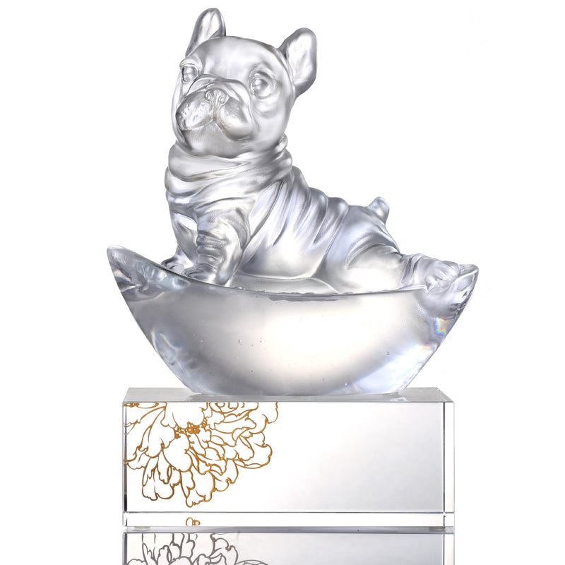Heads Up! (Blessings) - Dog Figurine - Exclusive Edition with Gilded Peony Display Base - LIULI Crystal Art - Clear, with Peony Base.
