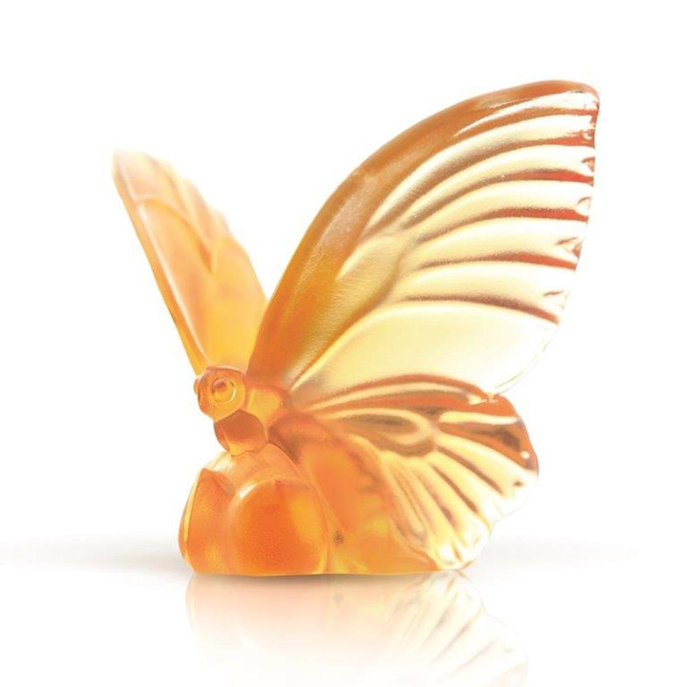 Butterfly Figurine (Blessing) - Wings of Hope - LIULI Crystal Art - Amber.