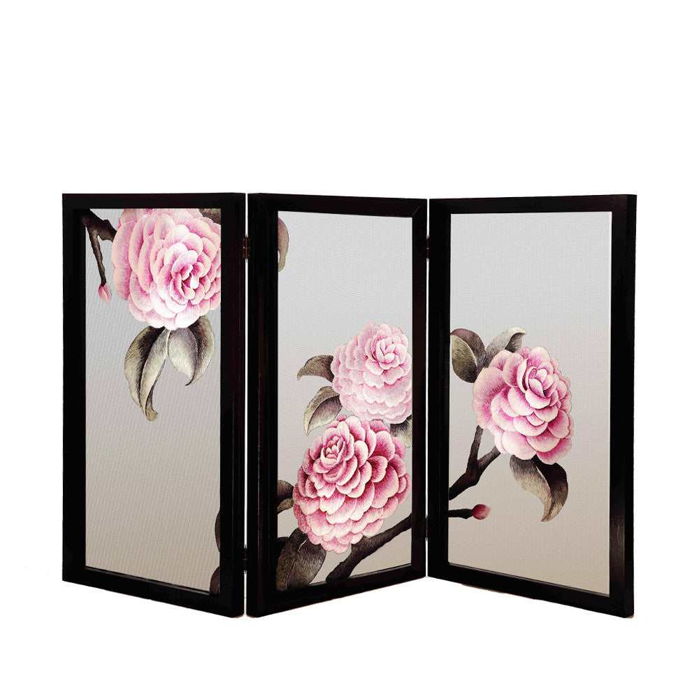 Camellia of My Dreams - Hand Embroidery Camellia Flower Partition - LIULI Crystal Art