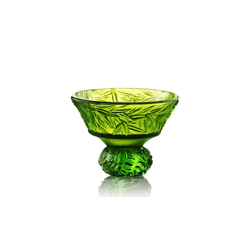 Crystal Sake Glass, Shot Glass, A Drink to Virtue-Virtuous Bamboo (Single Cup) - LIULI Crystal Art